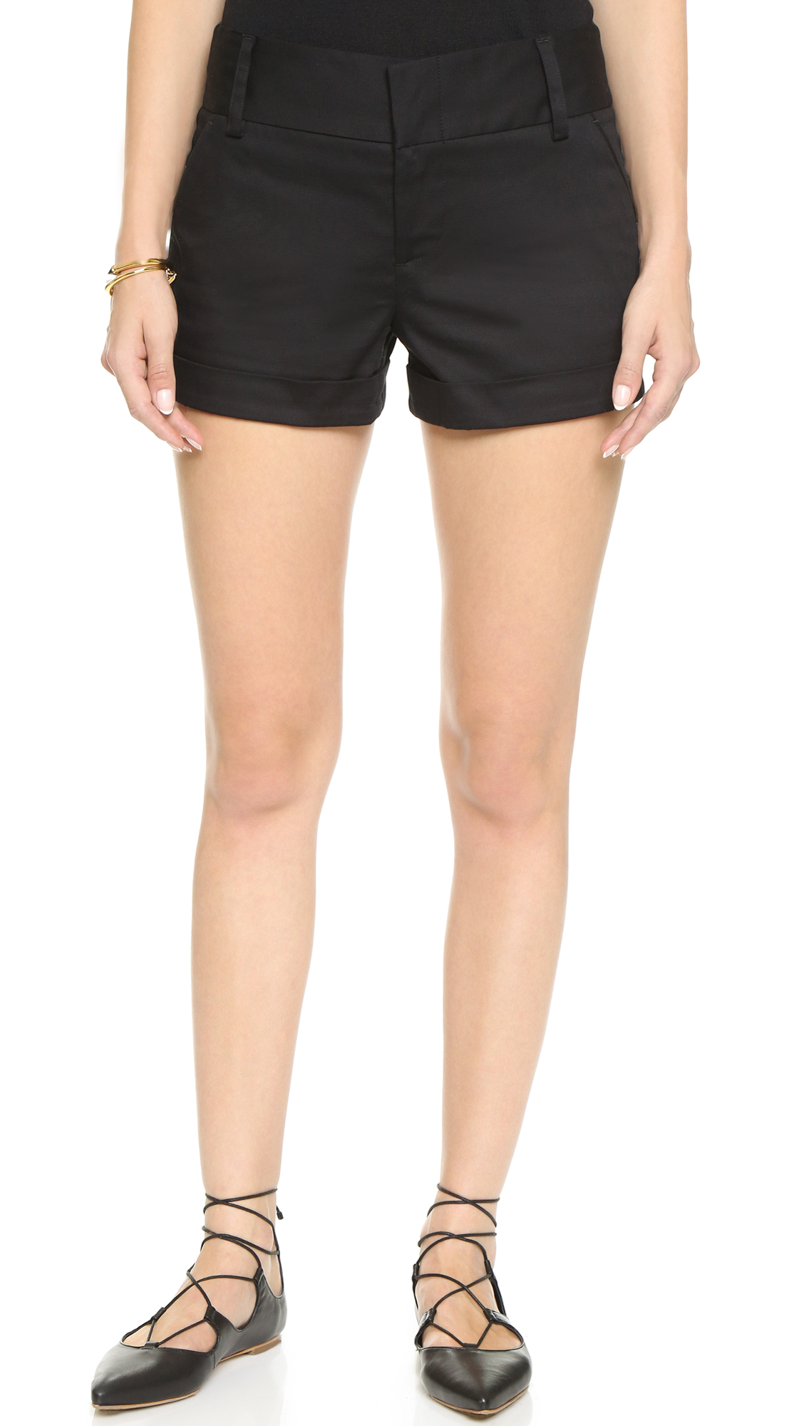 alice + olivia Cady Cuff Shorts - Black