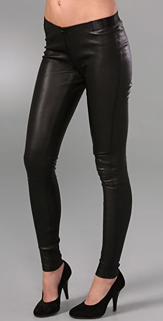 alice + olivia Leather Leggings with Zipper