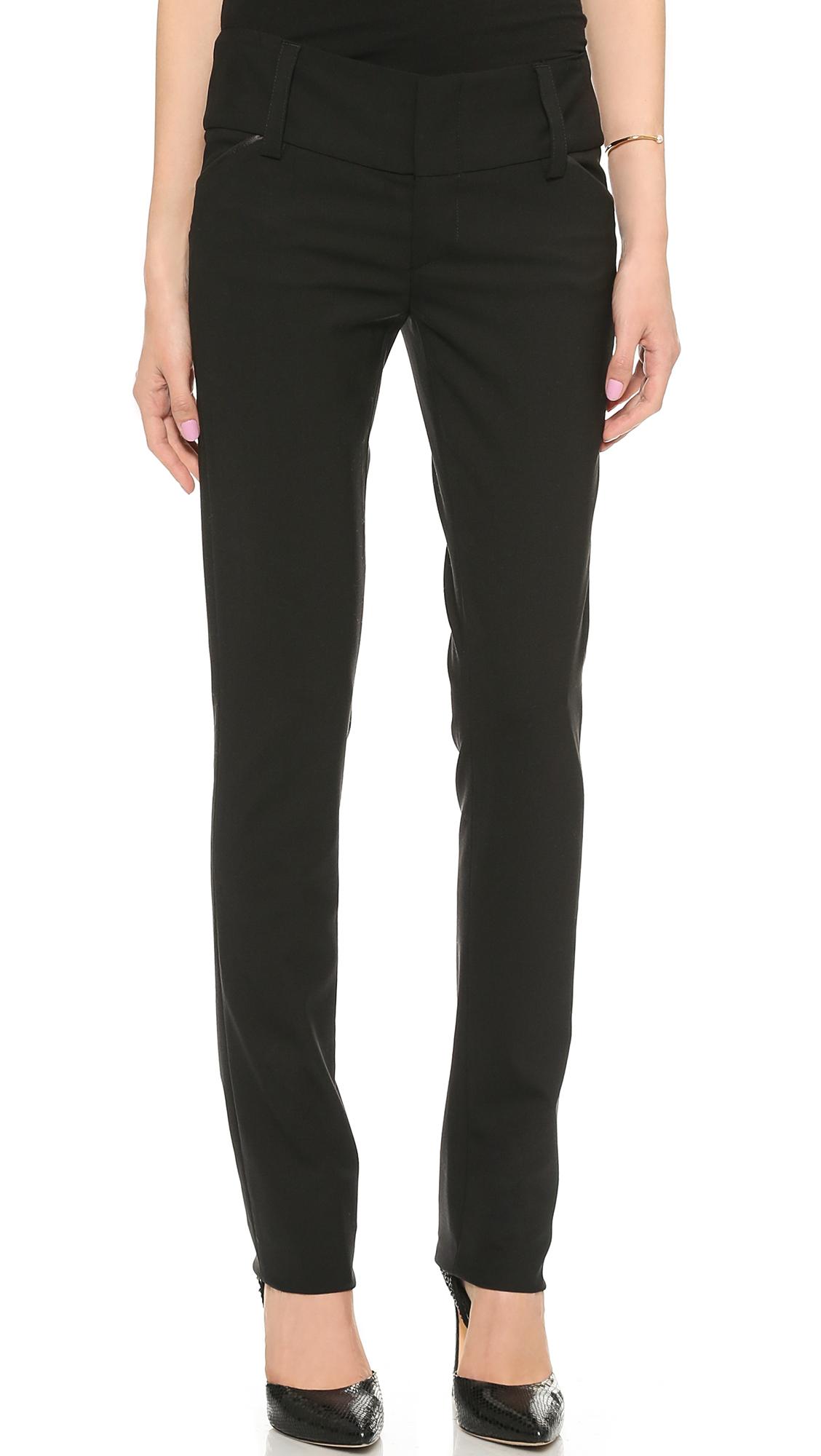 Alice + Olivia Olivia Slim Leg Pants With Wide Waistband - Black at Shopbop