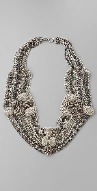 alice + olivia Multi Chain Embroidered Necklace