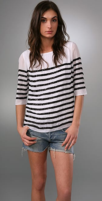 alice + olivia Samantha Sequin Stripe Tee