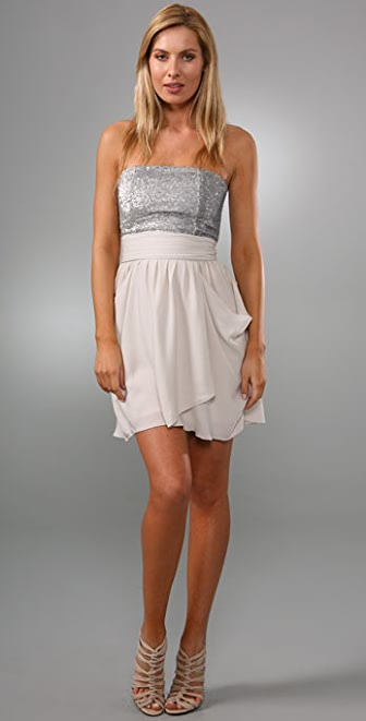 alice + olivia Maggie Strapless Dress with Sequin Bodice