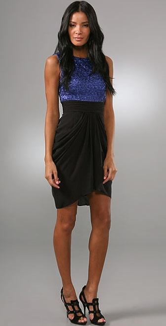 alice + olivia Lola Sequin Tank Dress with Draped Skirt