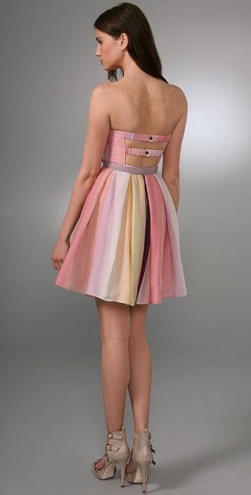 alice + olivia Lexi Strapless Ballerina Dress with Belt