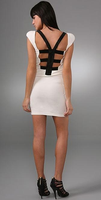 alice + olivia Ivy Cut Back Dress with Shoulder Pads