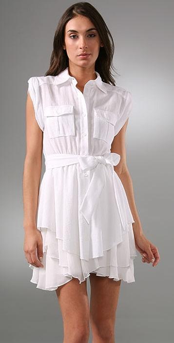alice + olivia Hollis Safari Dress with Flounce Skirt