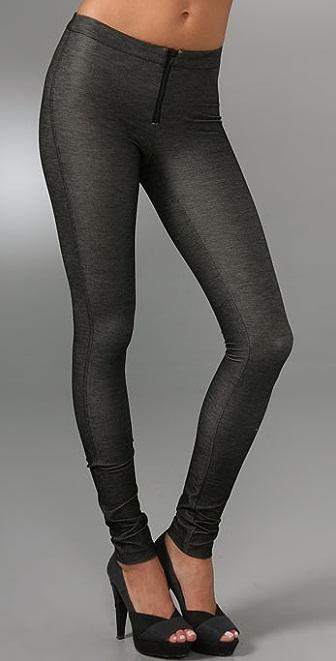 alice + olivia Denim Style Leggings with Exposed Zip