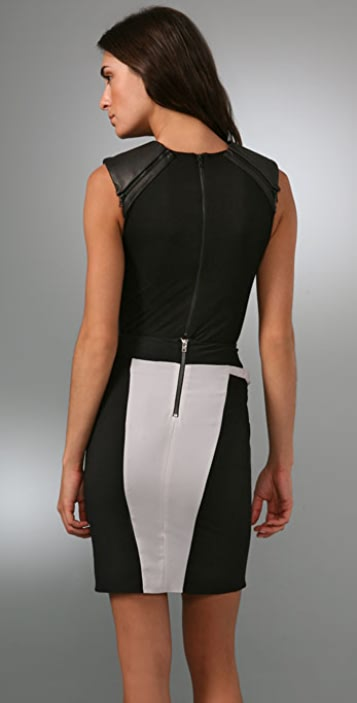 alice + olivia Amena Bodysuit with Leather Shoulder Detail
