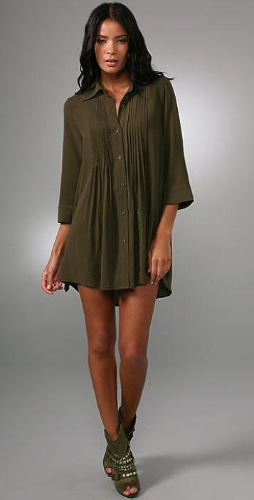 alice + olivia Mallory Pintuck Shirtdress