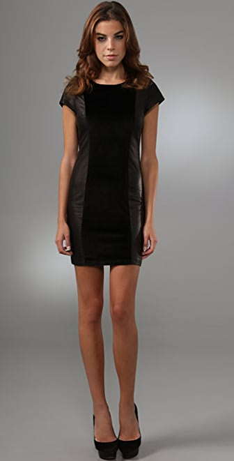 alice + olivia Juliana Velvet & Leather Dress