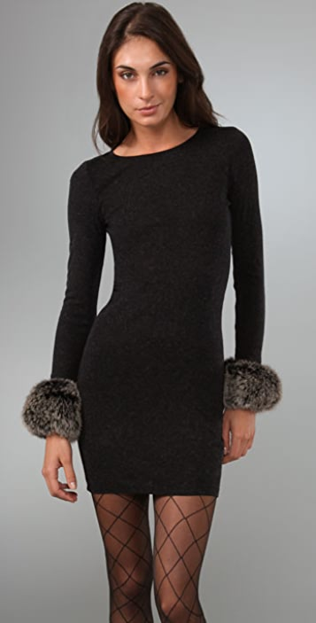 alice + olivia Adrianna Knit Dress with Fox Fur Cuffs