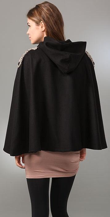 alice + olivia Emory Cape with Embellished Shoulders