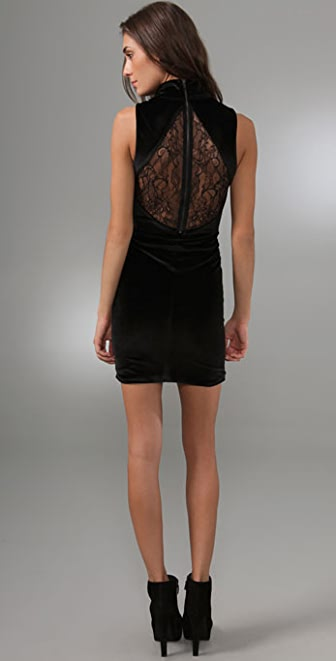alice + olivia Open Back Velvet Dress