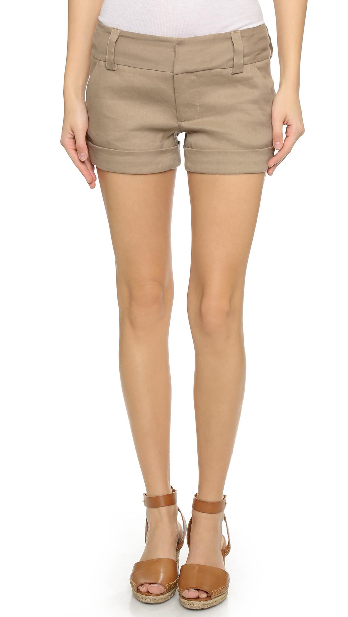 Alice + Olivia Cady Cuff Shorts - Khaki at Shopbop