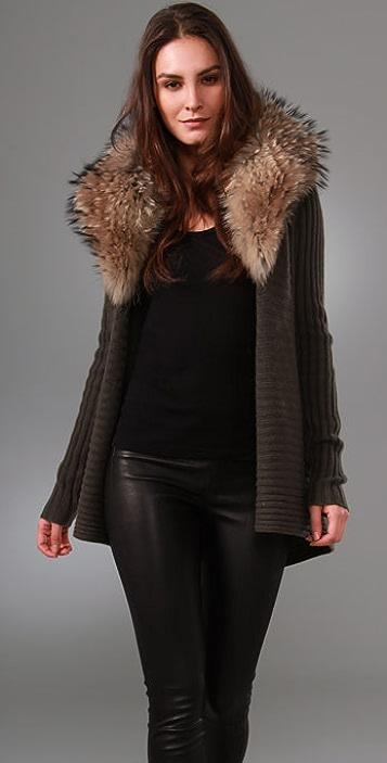 alice + olivia Lauriston Ribbed Cardigan with Fur Collar