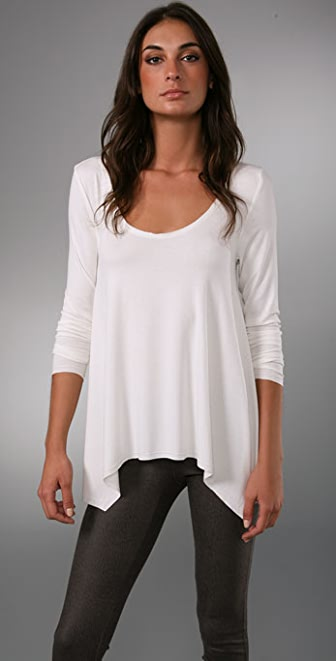alice + olivia Curved Hem Drape Top