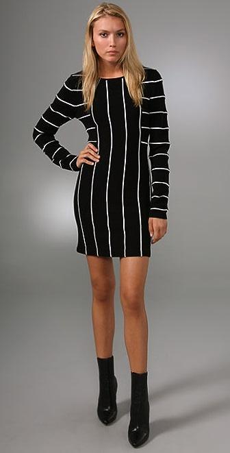 alice + olivia Double Knit Striped Dress