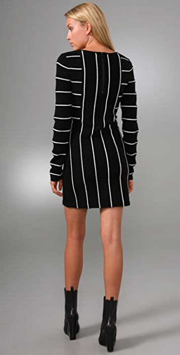 alice + olivia Double Knit Striped Dress