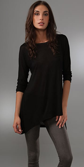 alice + olivia Drapey Dolman Top with Leather Detail