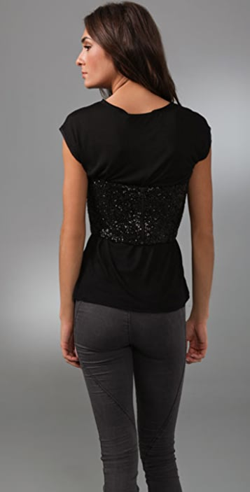 alice + olivia London Sequin Bustier Tee