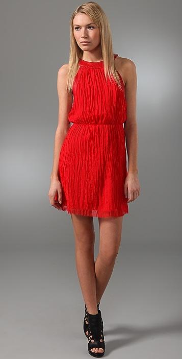 alice + olivia Patti Pleated Dress with Leather Trim
