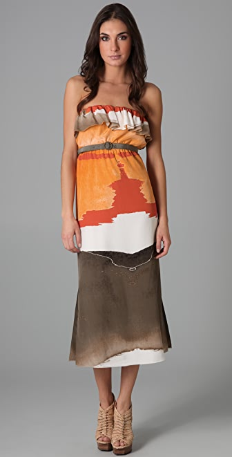 alice + olivia Avindale Belted Long Dress