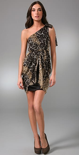 alice + olivia Kelley Leopard One Shoulder Dress