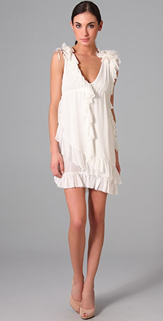 alice + olivia Daisy Ruffle V Neck Dress