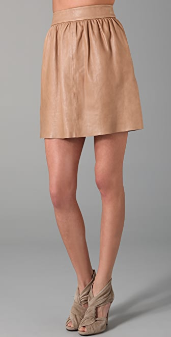 alice + olivia Leather Tulip Skirt