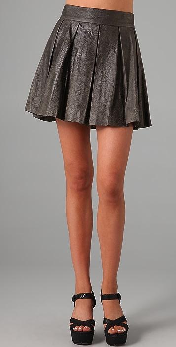 alice + olivia Louise Leather Skirt