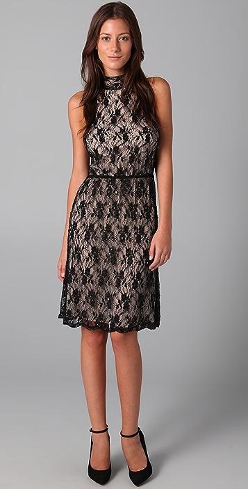 alice + olivia Bailey High Neck Lace Dress