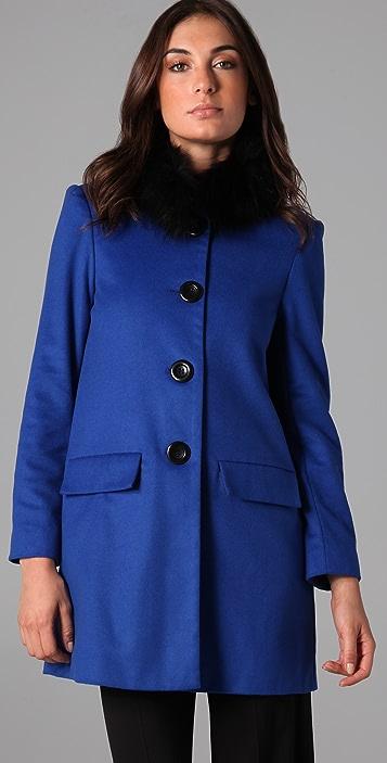 alice + olivia Longo Fur Collar Coat
