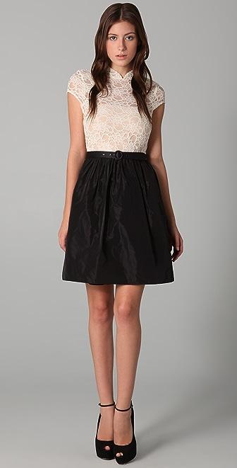 alice + olivia Scarlet Lace Top Dress