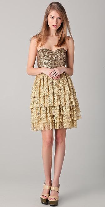 alice + olivia Lucille Beaded Bustier Dress