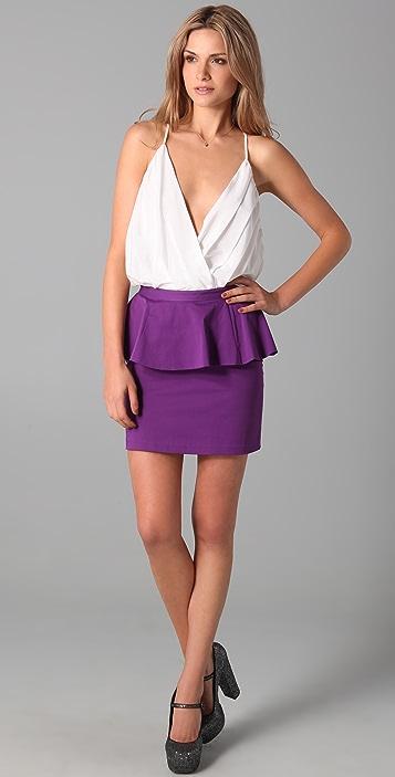 alice + olivia Carly Short Peplum Skirt