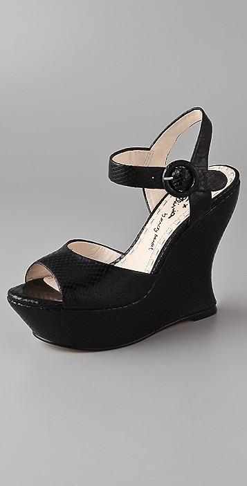 alice + olivia Jana Ankle Strap Wedge Sandals