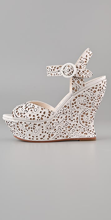 alice + olivia Jana Laser Cut Wedge Sandals