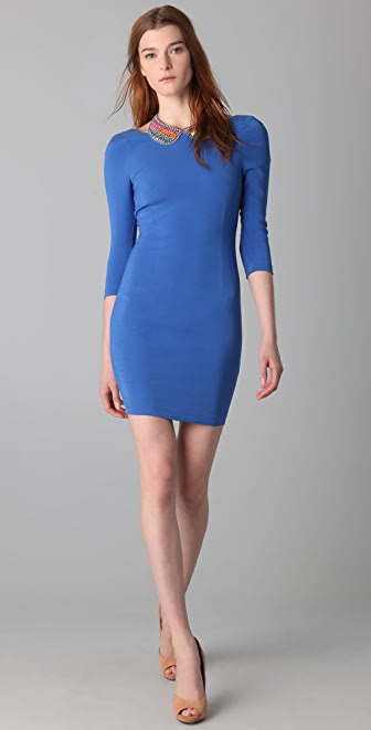 alice + olivia Isaac 3/4 Sleeve Fitted Dress