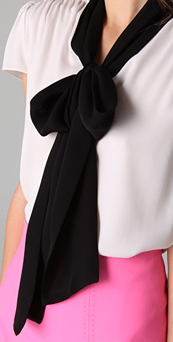 alice + olivia Gia Cap Sleeve Bow Blouse
