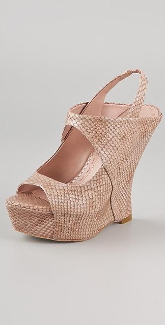 alice + olivia Delilah Snake Wedge Sandals