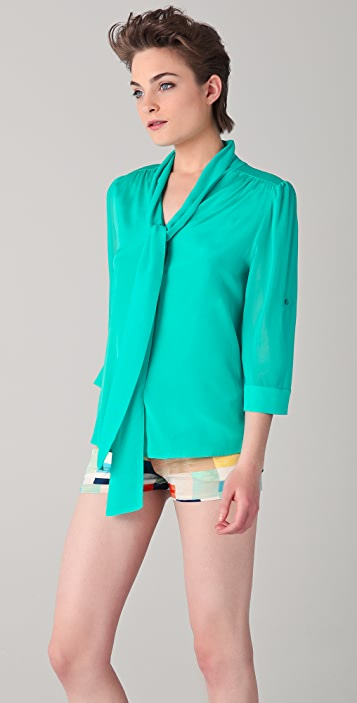 alice + olivia Arie Tie Collar Blouse