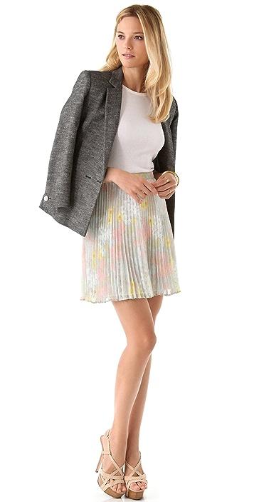 alice + olivia Floral Pleated Skirt