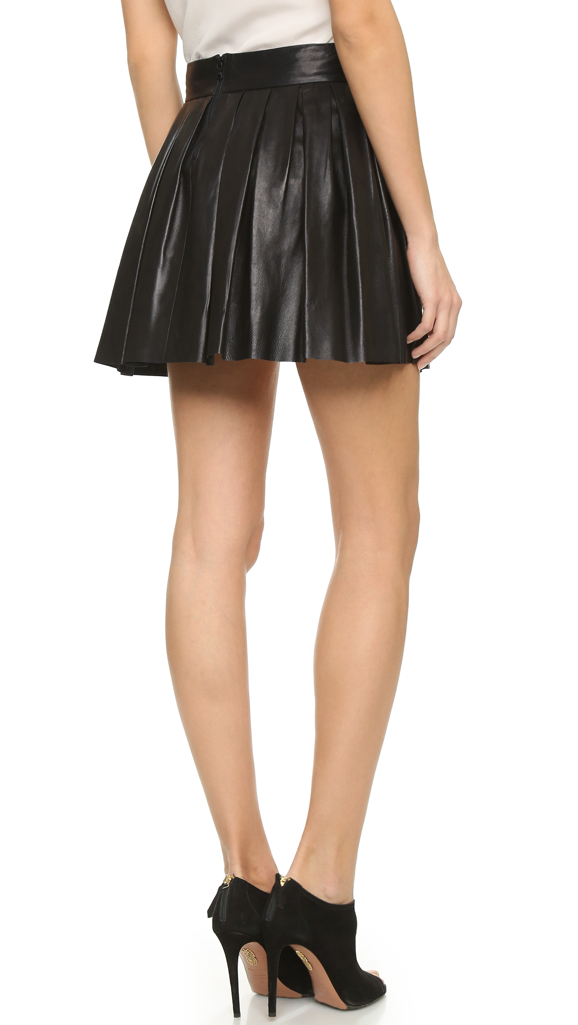alice   olivia Box Pleat Leather Skirt | 15% off first app ...