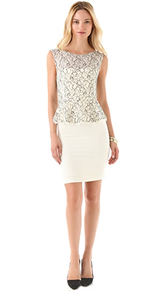 alice + olivia Shovan Peplum Dress with Open Back