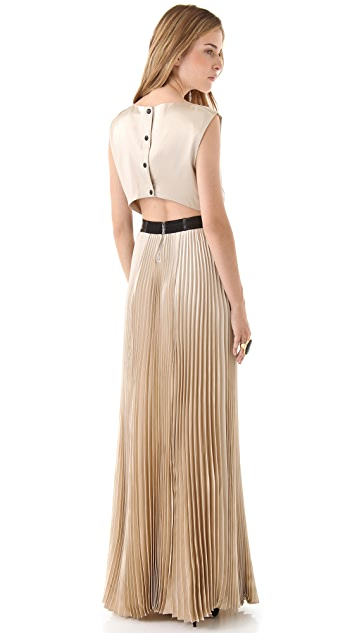 alice + olivia Triss Pleated Maxi Dress with Leather