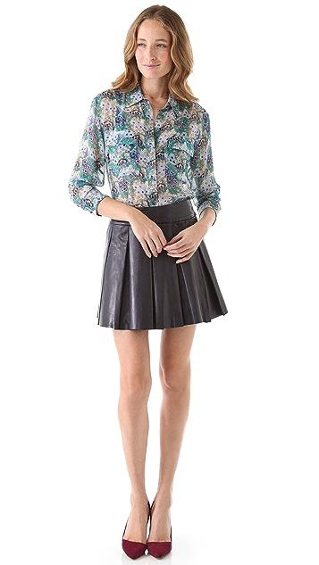 alice + olivia Pleated Leather Miniskirt