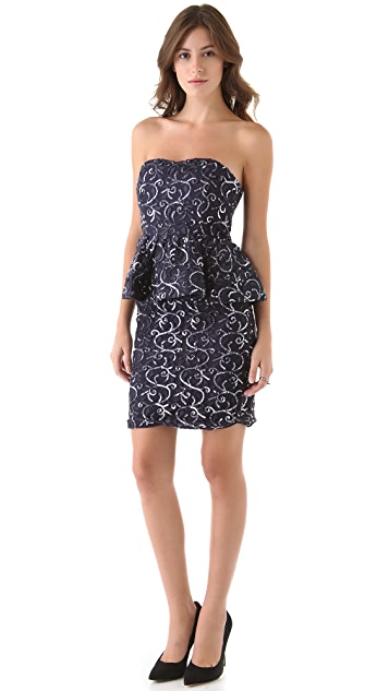 alice + olivia Elise Lace Peplum Dress
