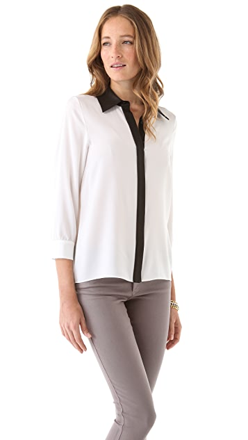 alice + olivia Willa Placket Top with Leather Combo
