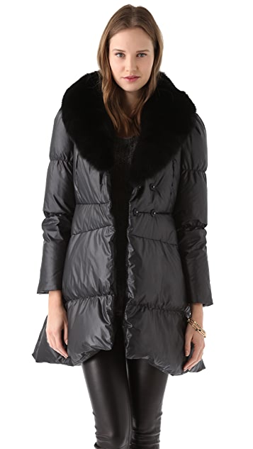 alice + olivia Gretchen Puffer Coat with Fur Collar