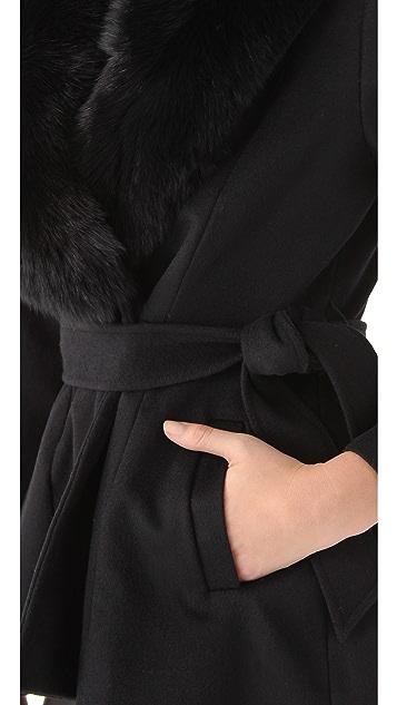 alice + olivia Kyah Fur Trim Coat